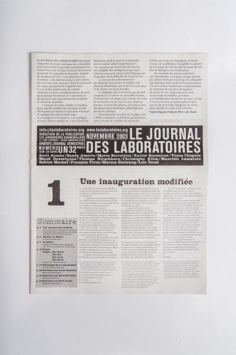 Le Journal des Laboratoires #1 (2003)